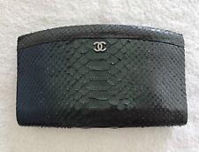 100% Authentic Vintage Chanel Metallic Effect Python Clutch