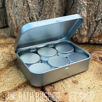 SILVER HINGED TOBACCO STORAGE TIN SELECTION PACK TINDER KIT SURVIVAL BUSHCRAFT