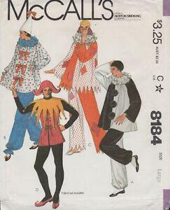 McCall's Pattern 8184 ©1982 Clown Costumes; Jester, Pierrot; Size 40-42, FF