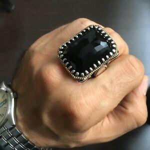 Black Onyx Mens Ring 925 Sterling Silver Large Heavy Artisan Handmade Jewelry