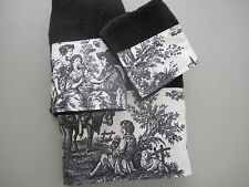 Waverly Black & Ivory Cream French Country Life Toile Towel Guest Bathroom Set