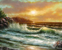 Huge Oil painting seascape ocean waves Seabirdsin sunset canvas no framed 36""