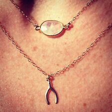 14K Gold-filled or Sterling Silver TINY WishboneCharm Necklace/Choker