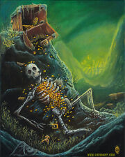 Pirate Skeleton Lowbrow Pop Art Print - FANTASY UNDERWATER MERMAIDS