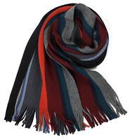 Klassischer Strickschal aus 100% Wolle (Merino mit Fransen -- rot/grau gestreift