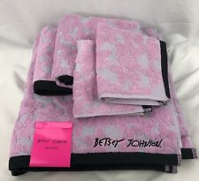 Betsey Johnson Lace Floral Pink and Black 6 Piece Towel Set Bath Hand Wash New