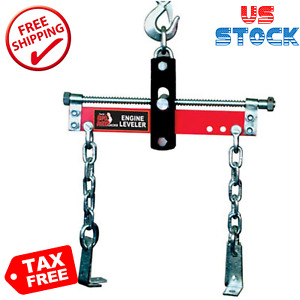 Red Engine Hoist Shop Crane Steel Engine Leveler, 3/4 Ton (1,500 lb) Capacity