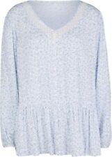 Bluse Gr. 46 Perlblau Weiß Gemustert Damenbluse Top Shirt Tunika Oberteil Neu