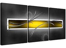 Large Abstract Canvas Prints 3 Panel in Yellow and Grey
