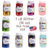Craft Glitter Bottle Plastic Shaker Bottle Choose color 16oz. (1lb)