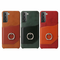 GENUINE LEATHER RING STAND CARD POCKET CASE COVER NEW FOR SAMSUNG GALAXY PHONE