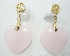 Pink Jade Heart Yellow Gold Plated Stud Fortune Earrings
