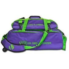 Vise Purple/Green 3 Ball Tote Bowling Bag With Shoe Pouch