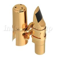 Golden Copper 7# B-Flat Sax Mouthpiece with Square Ligature for Tenor Saxophone