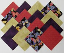 """24 5"""" ELEGANT BUTTERFLIES Fabric Quilt Squares Quilting Butterfly Novelty Purple"""