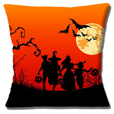 """NEW HALLOWEEN SILHOUETTES CHILDREN BATS MOON RED BLACK 16"""" Pillow Cushion Cover"""