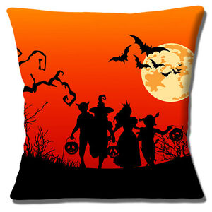 "NEW HALLOWEEN SILHOUETTES CHILDREN BATS MOON RED BLACK 16"" Pillow Cushion Cover"