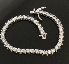 Vintage Tennis Bracelet in 925 Silver,Round cut Cubic Zirconia,Safety clasp,NIB