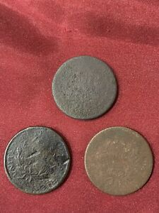 3 large cent coins believed they are 1796 but don't have dates.