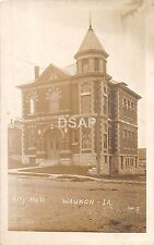 Iowa Ia Real Photo RPPC Postcard 1913 WAUKON City Hall Building