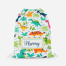 Personalised Dinosaur Dino Boys Kids Sports Swimming PE School Drawstring Bag