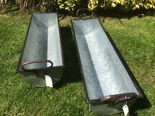 2X Trough Vintage Style Grey Zinc Galvanised Metal Garden Planter Flower Tub Pot
