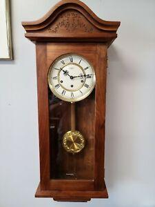 "RARE VINTAGE URGOS GERMANY KEYWOUND WALL CLOCK & PENDULUM SOLID WOOD 13"" x 32½"""