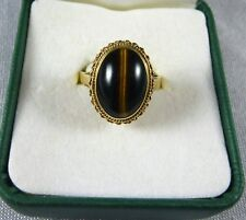VINTAGE ESTATE 9CT YELLOW GOLD TIGER EYE SET DRESS RING C 1950'S
