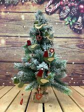 More details for gisela graham set of 6 wooden hanging bird christmas decorations