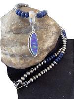 Native Amer Navajo Sterling Silver Purple OPAL LAPIS Necklace Pendant Set 01305