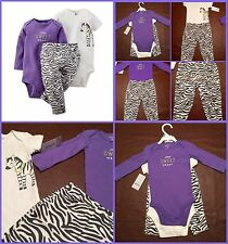Nwt Carter's Baby Girls 3 Piece Set Onesies/ Pant Sweet Heart Zebra 3 Months