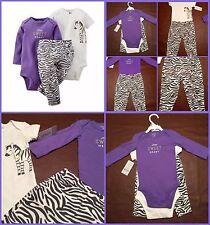 Carter's Baby Girls 3 Piece Set Onesies/Pant Sweet Heart Zebra 6M -FREE SHIPPING