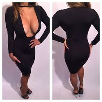 Connie's Long Sleeve Deep Plunge Chest Black Cocktail Party Dress S