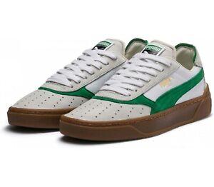 Puma Cali-O Vintage White / Amazon Green Leather Retro Trainers UK Size 6 - 10.5
