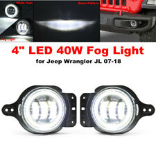 "4"" LED Front Bumper Fog Light White Halo Projector Lamp Waterproof For Jeep JL"