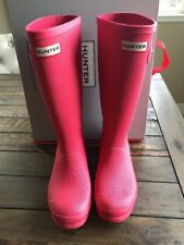 HUNTER Boots Pink Matte US Big Kids 5 Bright Watermelon