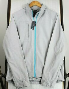 NWT PETER MILLAR Crown Active Nagano Medium Mens Full Zip Hooded Gray Jacket NEW
