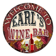 Cmwb-0098 Welcome to Earl'S Wine Bar Chic Tin Sign Man Cave Decor Gift