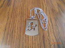 ICP cut out HATCHET MAN Polished Stainless Steel Dog Tag w/30 inch ball chain