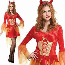 Adult Ladies Devil Maiden Fancy Dress Halloween Horror Hell Costume Outfit