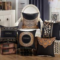 Cotton Linen Vintage Dark Cushion Cover Throw Pillow Case Home Sofa Car Decor