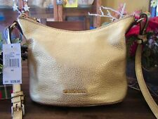 New Michael Kors Pebbled Leather Gold Lupita Gold MD Messenger Purse $228