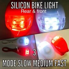 2 LED SILICONE BICICLETTA MOUNTAIN BIKE Body Anteriore Posteriore Luci Set Push UK Venditore