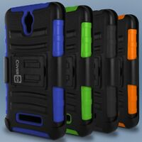 Tough Belt Clip Holster Kickstand Hybrid Phone Cover Case for ZTE Obsidian Phone