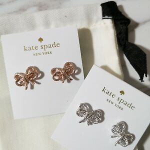 New Kate Spade Bow Meets Girl pave Studs Rose Gold/ Silver w/ dust bag