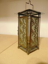 Vintage Hanging Oriental Lantern / Candle Holder, glass and brass