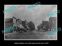 OLD LARGE HISTORIC PHOTO OF AMBIA INDIANA, THE MAIN STREET & STORES c1910