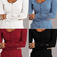Damen Bluse Tunika Pullover Strickshirt Shirts Langarm Spitze Knöpfen S-6XL