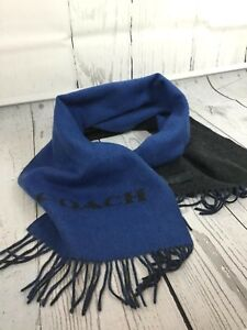 Coach F86542 Wool / Cashmere Blend Bi-Color Signature Blue Grey Scarf MSRP $ 125