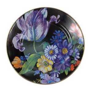"""Mackenzie Childs Flower Market Dinner Plate - Black, Brand New 10"""" dia."""